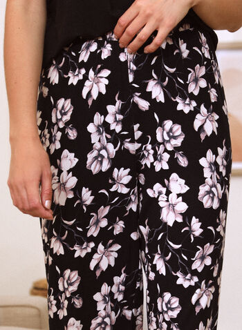 Floral Print Pyjama Set, Black,  spring summer 2021, sleepwear, pj, pyjama, set, floral print, cami, capris, pants, pull-on, elastic waist, wide strap, round neck, contrast, soft
