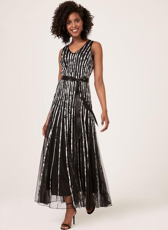 Ribbon Detail Mesh Dress, Black, hi-res