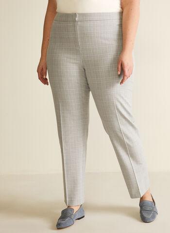 Pantalon coupe cité motif tartan, Gris,  pantalon, coupe cité, tartan, jambe droite, printemps été 2020