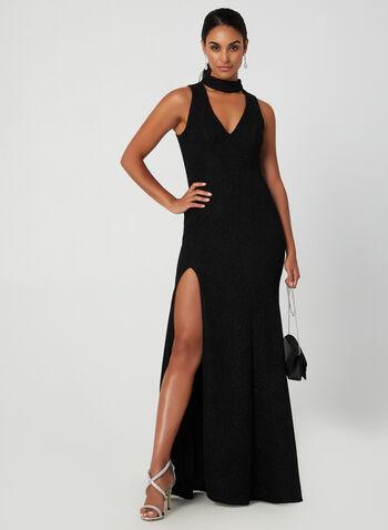 Sequined Split Skirt Dress, Black, hi-res,  gown, skirt, sequined, choker, metallic, zipper, v neck, fall 2019, winter 2019