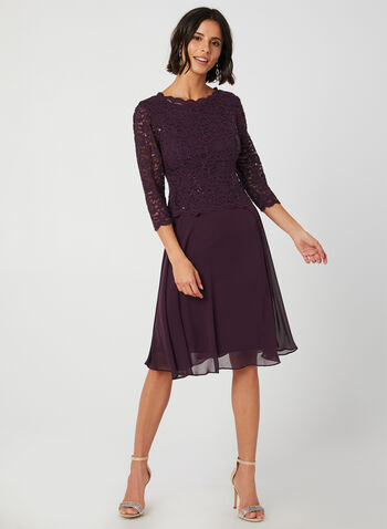Sequin Lace Dress, Purple,  ¾ sleeves, 3/4 sleeves, lace, chiffon, glitter, sequin, midi, fall 2019, winter 2019