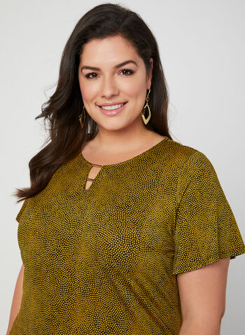 Speckled Dot Print Top, Yellow, hi-res,  Canada, dot print, short sleeves, keyhole, spring 2019, summer 2019