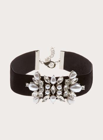 Pearl Embellished Velvet Choker, Black, hi-res