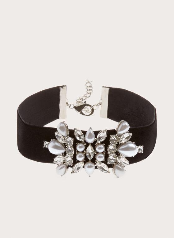 Collier ras-de-cou aspect velours avec pierres et perles, Noir, hi-res