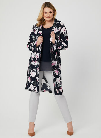 Floral Print Open Front Blazer, Blue, hi-res,  ¾ sleeves, spandex