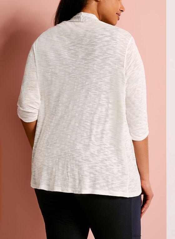 Cardigan en tricot à manches 3/4 froncées, Blanc, hi-res