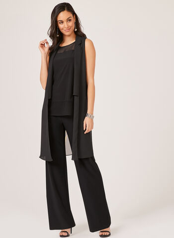 Wide Leg Jersey Pants, Black, hi-res,  dress pants