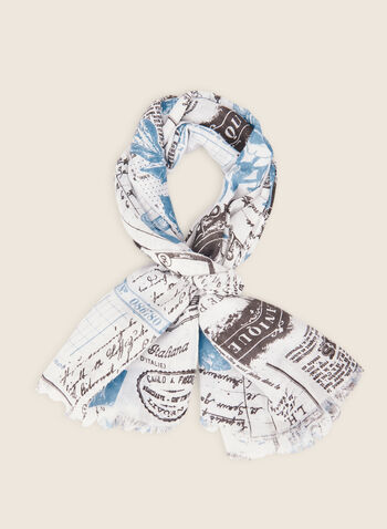 Writing Motif Lightweight Scarf, Blue,  scarf, lightweight, writing, illustrations, spring summer 2020