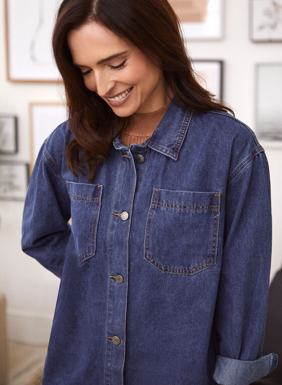 Long Sleeve Denim Shirt, Blue