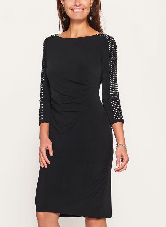 Jessica Howard - Embellished Sleeve Jersey Dress, Black, hi-res
