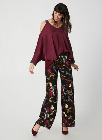 Modern Fit Floral Print Pants, Black, hi-res,  Canada, pants, Modern Fit, pull on, elastic waist, floral, wide leg, fall 2019, winter 2019