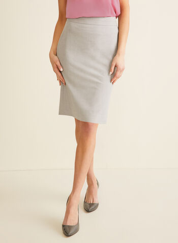 Bi-Stretch A-Line Skirt, Grey,  spring 2020, skirt, bi-stretch, a-line, pencil skirt, pleat