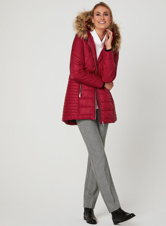 Quilted Faux Fur Trim Coat, Red, hi-res
