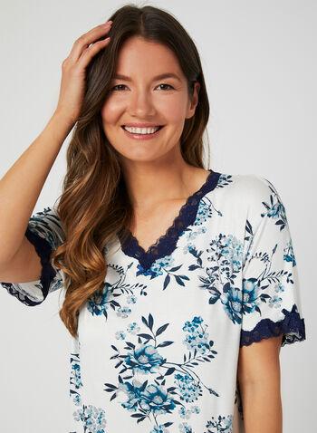 Bellina - Floral Print Nightgown, Blue, hi-res