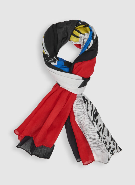 Abstract Print Scarf, Multi, hi-res