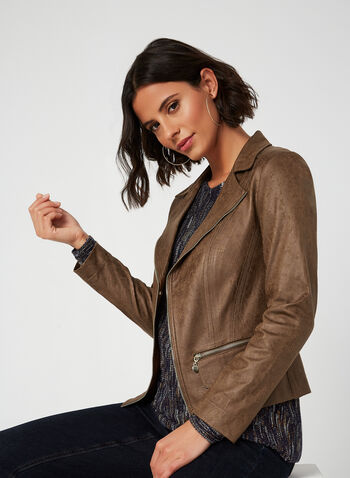 Vex - Suede-like Collar Jacket, Brown, hi-res,  vest, jacket, fake suede, faux suede, zippers, long sleeves, blazer, stretch, fall 2019, winter 2019