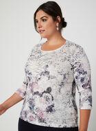 T-shirt à manches ¾ et imprimés variés, Blanc