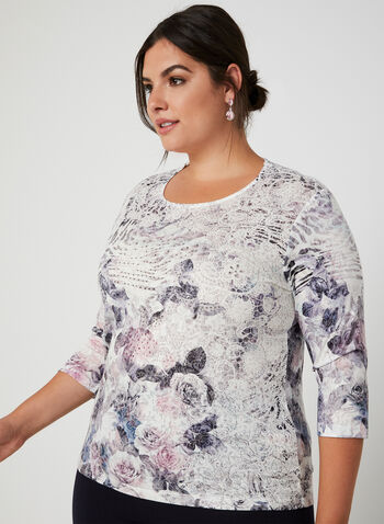 Floral Print ¾ Sleeve T-Shirt, White,  t-shirt, 3/4 sleeves, floral print, rhinestones, burnout, fall 2019, winter 2019