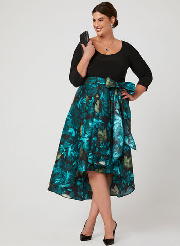 Jersey Satin Duchess Dress	, Blue, hi-res