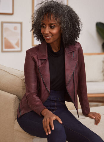 Vex - Blazer en faux cuir suédé, Violet,  cardigan, rayé, tricot, bouton, manches 3/4, automne hiver 2020
