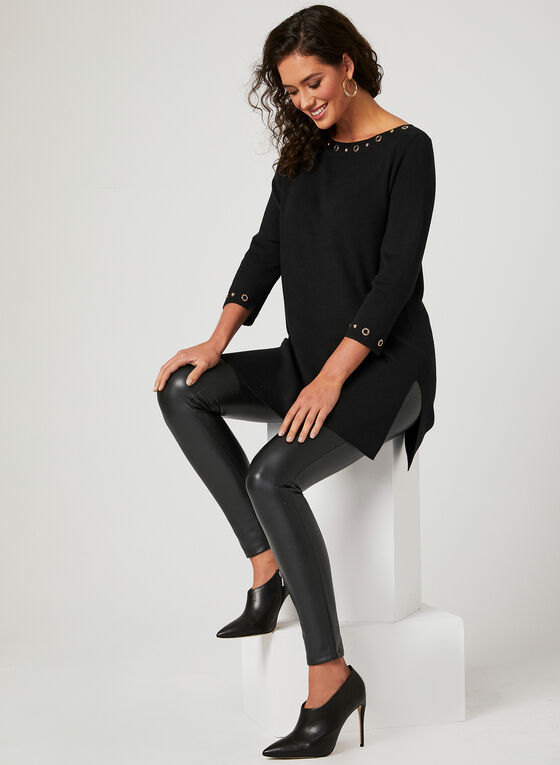 Boat Neck Knit Tunic, Black, hi-res