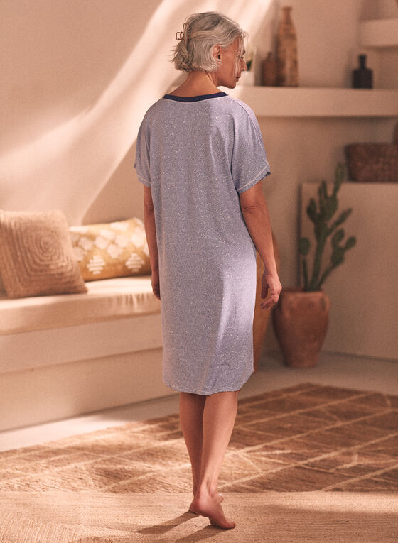 Printed V-Neck Nightgown, Blue