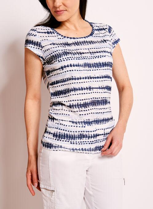 T-shirt à rayures graphiques et brillants, Blanc, hi-res