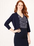 Boléro ouvert en tricot et bordures texturées, Bleu, hi-res