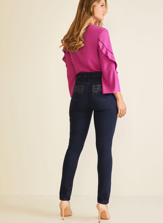 Jeans droit à poches ornementées, Noir