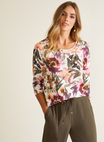 Floral Print Cutout Detail Tee, Purple,  t-shirt, floral, rhinestones, cutout, 3/4 sleeves, jersey, fall winter 2020