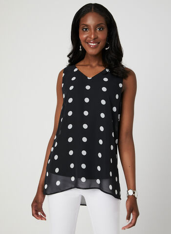 Polka Dot Print Sleeveless Blouse, Black, hi-res