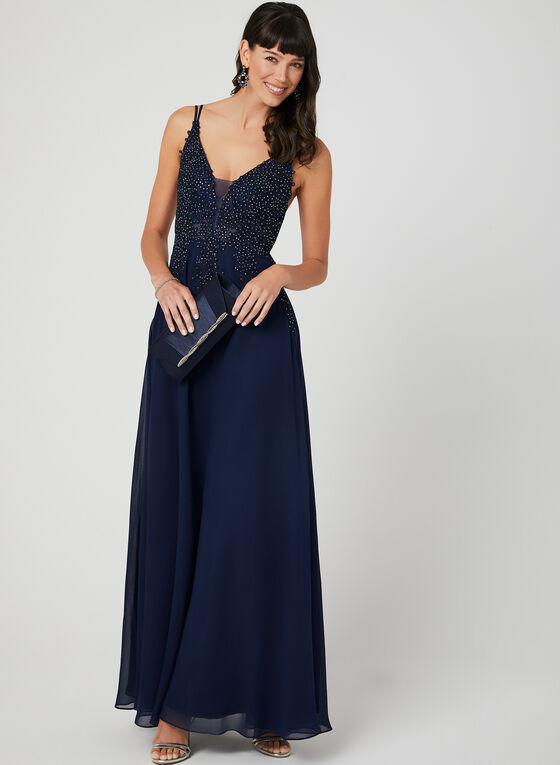 Crystal Embellished Chiffon Dress, Blue