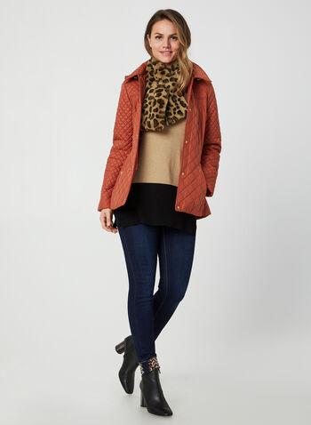Anne Klein - Diamond Quilted Coat, Orange,  fall winter 2019, Anne Klein, quilted, gold details