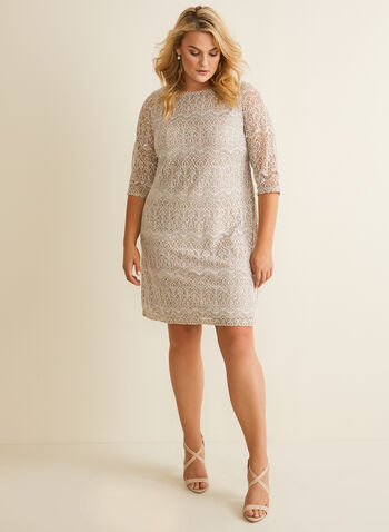 Lace And Sequin Shift Dress , Grey,  cocktail dress, 3/4 sleeve, lace, sequin, sheath, boat neck, spring summer 2020