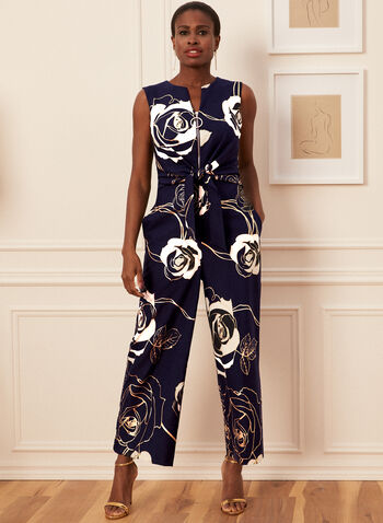 Joseph Ribkoff - Floral Print Sleeveless Jumpsuit, Blue,  jumpsuit, floral, sleeveless, v-neck, zip front, wide leg, jersey, ribkoff, lyman, made in Canada, spring summer 2021
