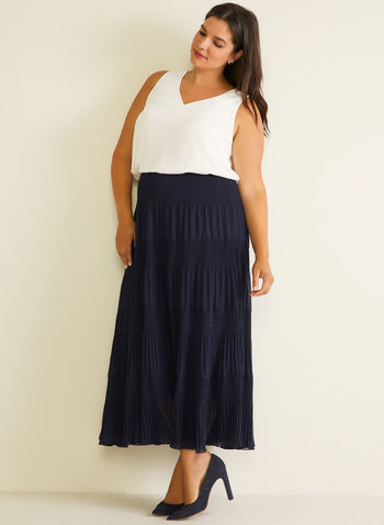 Alison Sheri - Chiffon Peasant Skirt, Blue,  skirt, maxi, peasant, chiffon, polka dot, spring summer 2020