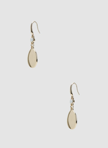 Teardrop Dangle Earrings, Gold, hi-res