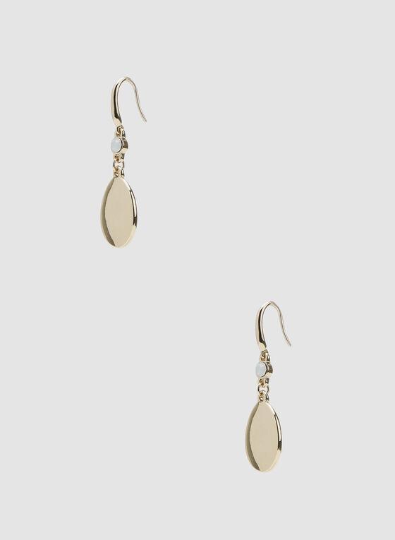 Boucles d'oreilles à pendant goutte métallisée, Or, hi-res