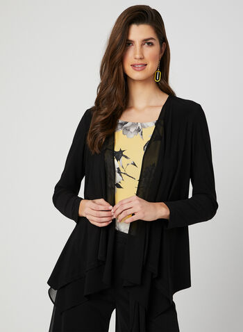 Cascading Open Front Top, Black, hi-res