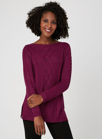 Boat Neck Cable Knit Sweater, Pink, hi-res