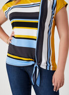Stripe Print Jersey Top, Black, hi-res