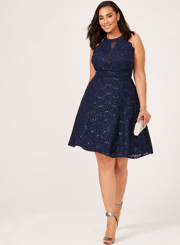 Sequin Lace Fit & Flare Dress, Blue, hi-res