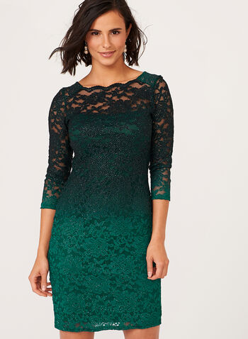 Ombré Glitter Lace Sheath Dress , Green, hi-res