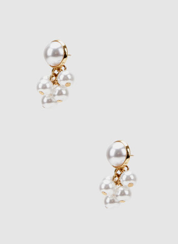 Pearl Cluster Earrings, Off White, hi-res