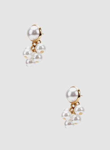 Clous d'oreilles à perles, Blanc cassé, hi-res