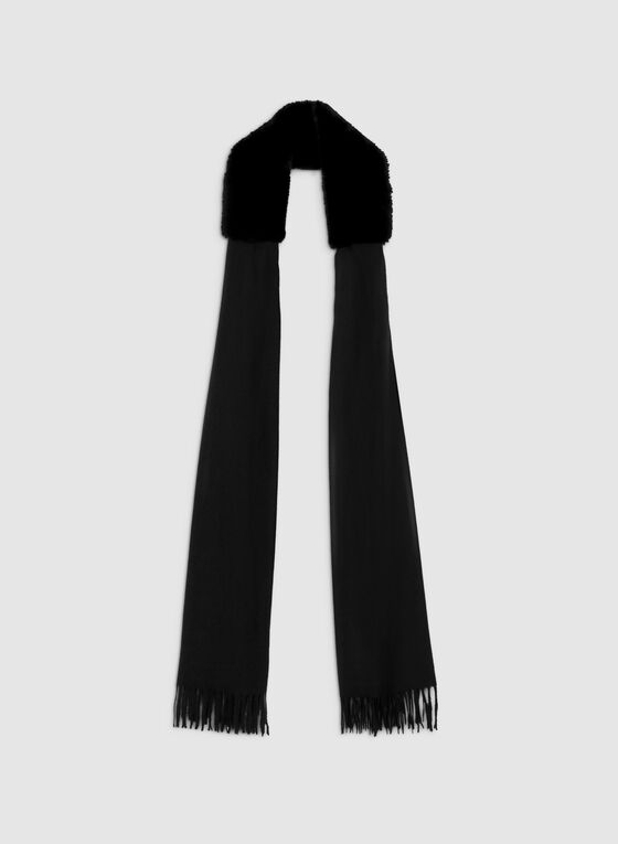Faux Fur Trim Scarf, Black