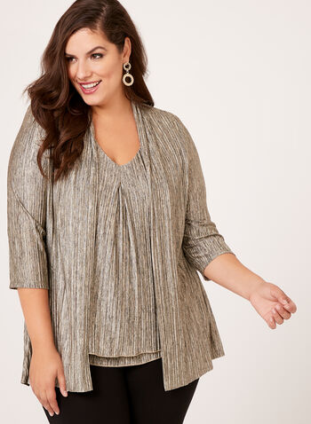 Frank Lyman - Metallic Knit 3/4 Sleeve Cardigan, , hi-res