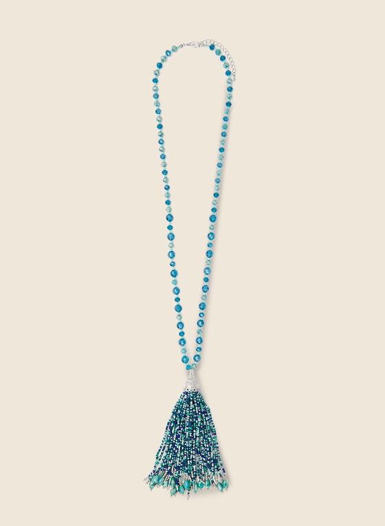 Bead & Tassel Necklace, Blue