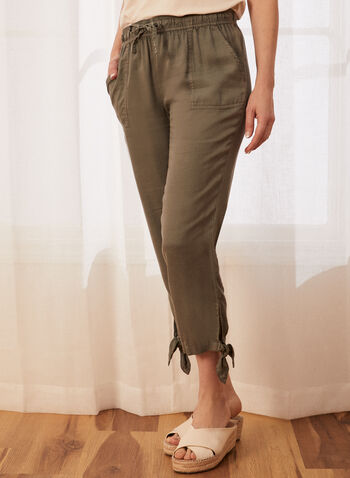 Knot Detail Tencel Capris, Green,  capris, pull-on, tencel, pockets, drawstring, knot detail. spring summer 2020