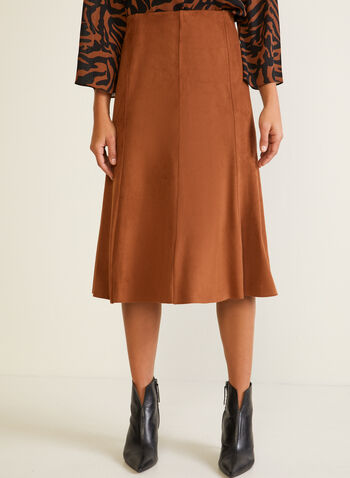 Faux Suede Midi Skirt, Brown,  fall winter 2020, skirt, faux suede, midi, pull-on